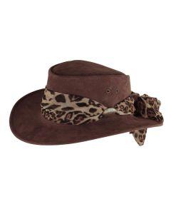 Jacaru Jillaroo Women's Bush Hat with Animal Print Scarf