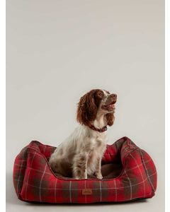 Joules Percher Square Dog Bed, Red Tweed