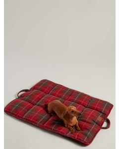 Joules Quilted Travel Dog Bed,  Red Tweed
