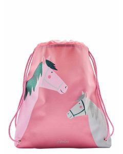 Joules Girls Drawstring Bag, Pink Horses