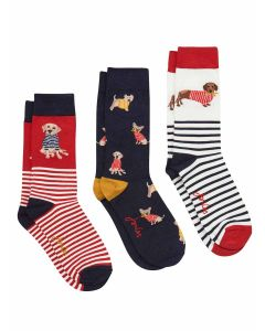 Joules Bamboo Socks, Triple Pack - Red Multi Dogs | 204942
