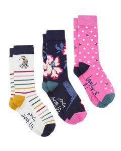 Joules Bamboo Socks, Triple Pack - 30th Anniversary Floral | 206015