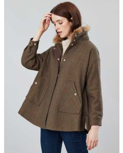 Joules Carolyn Swing Coat, Green Tweed | 208514