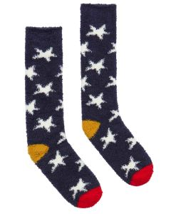 Joules Women's Fabulously Fluffy Socks, Navy Winter Star | 204946