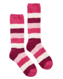 Joules Women's Fabulously Fluffy Socks, Pink Block Stripe | 204946