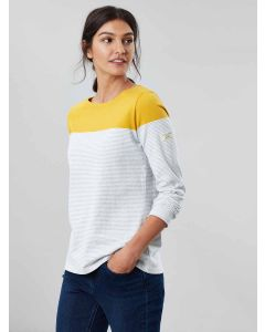 Joules Harbour Jersey Top, Grey Cream Gold Stripe | 200440