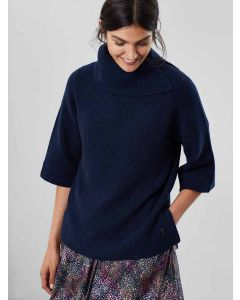 Joules Sarah Knitted Roll Neck Poncho, French Navy | 203765
