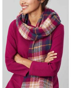 Joules Upton Reversible Soft Scarf, Dark Pink Check 203765
