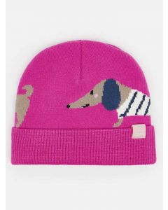 Joules Girls Bark Knitted Beanie Hat, Dog