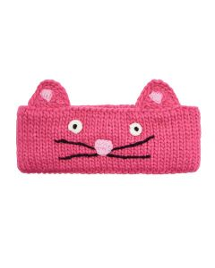 Joules Girls Hilda Knitted Headband, (Cat) True Pink