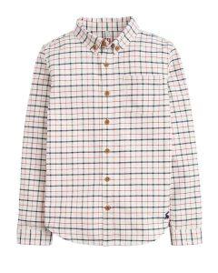 Joules Boys Atley Check Shirt, Cream Multi Check