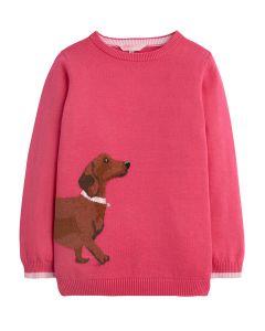 Joules Girls Meryl Intarsia Jumper, Dark Pink Dog
