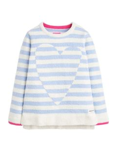 Joules Girls Seaham Luxe Chenille Jumper, Sky Blue Stripe Heart