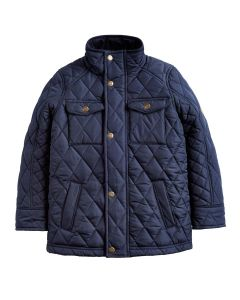The Joules Stafford Boys Quilted Jacket, Navy Blue