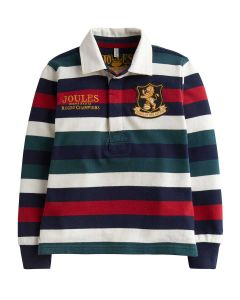 Joules Boys Winner Rugby Shirt, Red Stripe