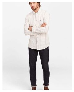 Joules Men's Wilby Classic Fit Oxford Shirt, Cream Multi Check