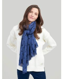 Joules Corin Flocked Scarf, Navy Dogs 202876