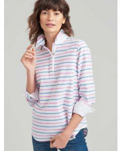 White, Blue and Pink Stripe Clovelly Women's Deck Shirt from Joules