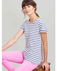 Joules Nessa Stripe Jersey T-Shirt | 201086 - Cream Blue Stripe