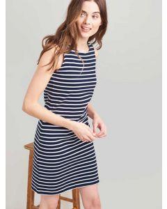 Joules Navy Cream Stripe Riva Sleeveless Jersey Dress, 200531