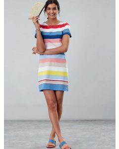 Joules Riviera T-Shirt Cotton Jersey Dress, Blue Multi Stripe