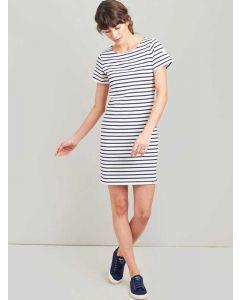 Joules Riviera T-Shirt Cotton Jersey Dress, Cream Navy Stripe