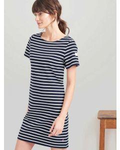 Joules Riviera T-Shirt Cotton Jersey Dress, Navy Cream Stripe