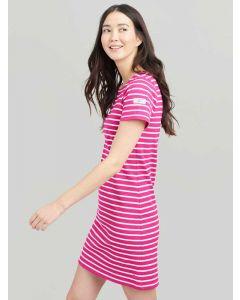 Joules Riviera T-Shirt Cotton Jersey Dress, Pink Cream Stripe