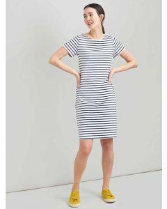 Joules Riviera Long Length, Short Sleeve T Shirt Dress, Cream Navy Stripe 205047