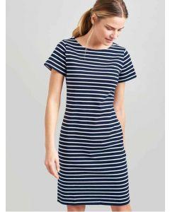 Joules Riviera Long Length, Short Sleeve T Shirt Dress, Navy Cream Stripe 205047