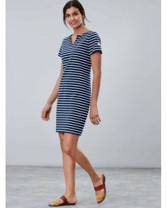 Joules Riviera Notch Neck Jersey Dress, Navy Cream Stripe 204807