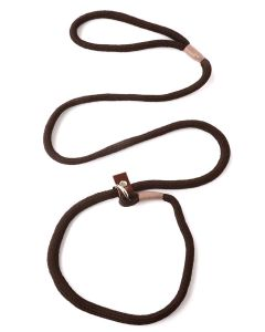 8mm Braided Gundog Slip Lead with Leather Stopper, Brown (1.5m long)