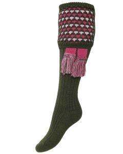 The Lady Honeycomb Shooting Sock & Garter - Spruce
