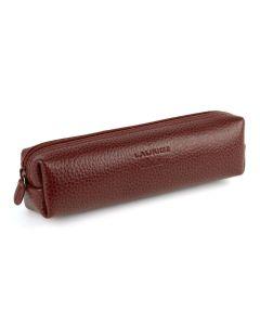 Laurige Leather Square Pencil Case, Bordeaux