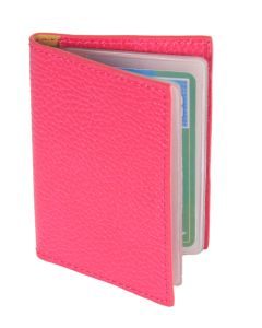 Laurige Leather Credit/Debit Card Holder - holds 12 cards - Fuchsia
