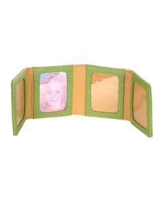 Laurige Leather Zig Zag Travel Photo Frame, Light Green