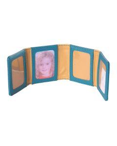 Laurige Leather Zig Zag Travel Photo Frame, Turquoise