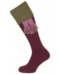 The Lintridge 'Fig with Fern Green' Merino Shooting Sock
