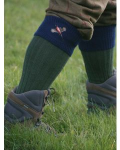 House of Cheviot - The Lomond Embroidered Shooting Sock - Spruce & Navy Pheasant