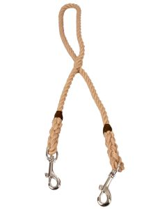 Rope Clip Lead for Two Dogs, 10mm, Natural