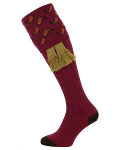 The Norfolk 'Claret' Merino Wool Shooting Sock