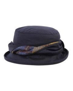 Olney Emma Navy Waxed Hat with Tweed Detail
