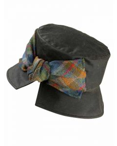 Olney Kate Olive Green Wax Hat with Tweed Bow