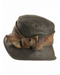 Olney Nancy Waxed Hat with Tweed Bow in Brown