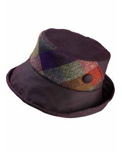 Olney Gemma Burgundy Wax Hat with Tweed Bow