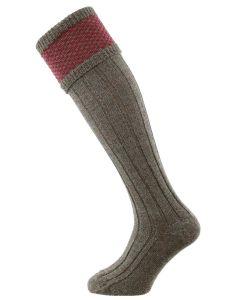 The Penrith Shooting Sock, Derby Tweed & Cherry