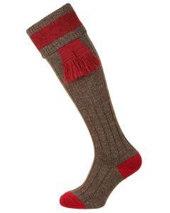 Pennine Byron Shooting Sock, Derby Tweed & Cherry