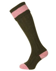 The Pennine Byron Wool Shooting Sock, Olive and Pink