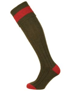 The Pennine Byron Wool Shooting Sock, Olive and Ruby