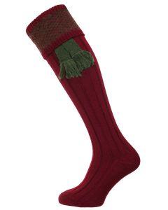 The Penrith Wool Shooting Sock - Olive & Burgundy